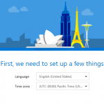 Při prvním přihlášení do Office 365 se objeví dotaz na nastavení jazyka a časového pásma